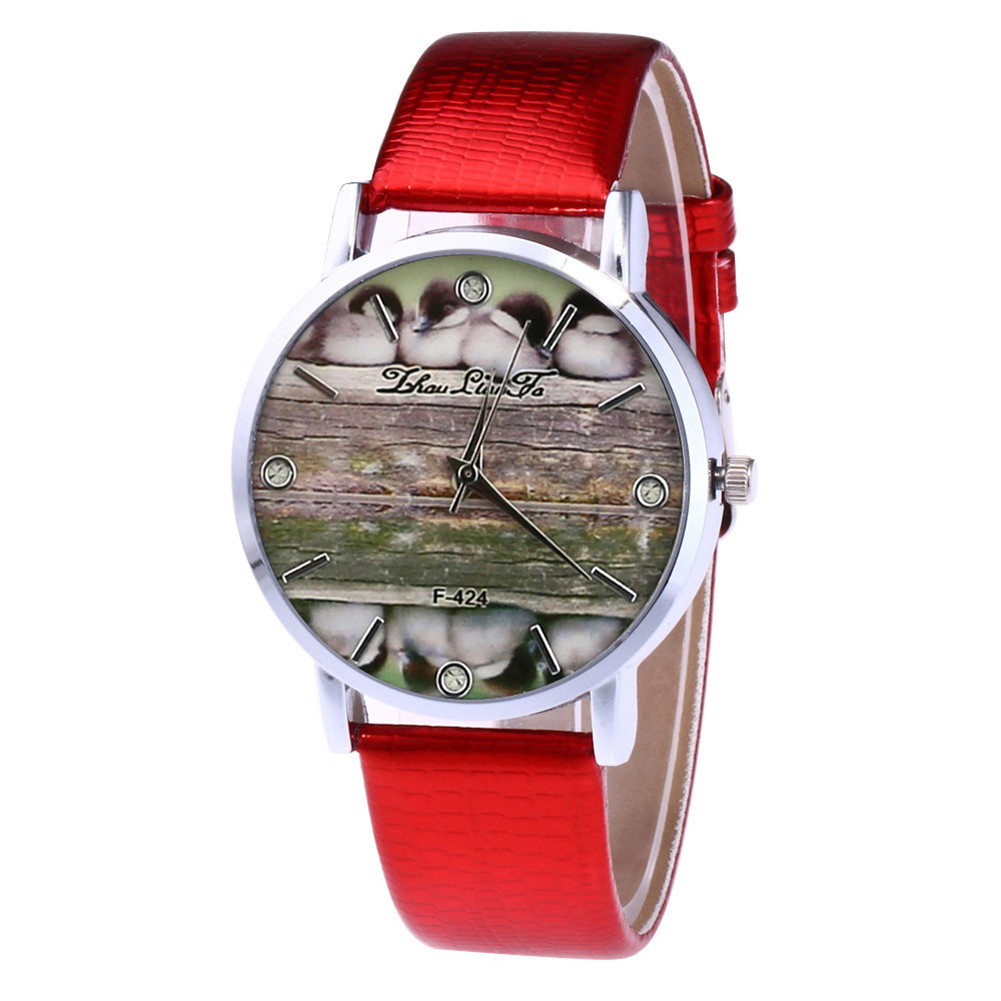 Couple Watches Round Dial Faux Leather Band Casual Quartz Watch For Women Men Travel Accessories LL@17