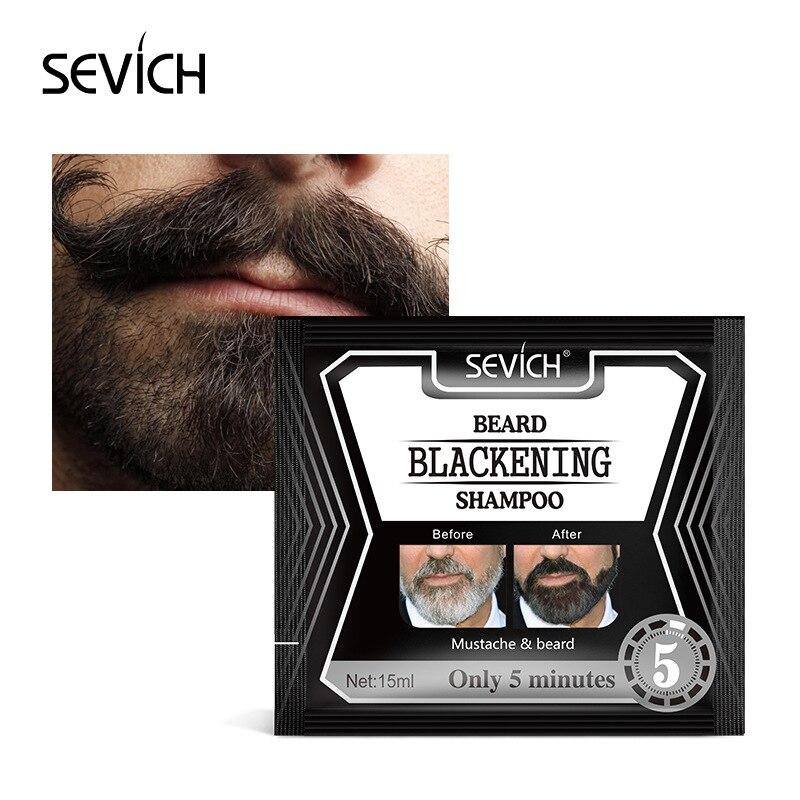 Sevich 5 минут затемнения бороды шампунь краска бороды в черный 15 мл травы естественное быстрое затемнение бороды окраска серый удаление TSLM1