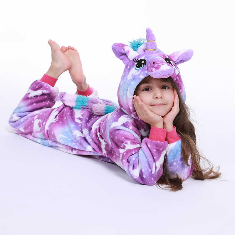 Kigurumi Panda Bambini Pigiama Unicorn Pigiama Per I Bambini Animale Del Fumetto Coperta Del Bambino Costume di Inverno Della Ragazza del Ragazzo Licorne Tutina