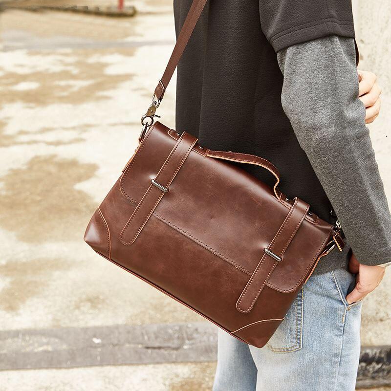 YICIYA Crazy Horse Leather Men's Briefcase Messenger Bag For Gentlemen Document Case Portfolio Office Bag