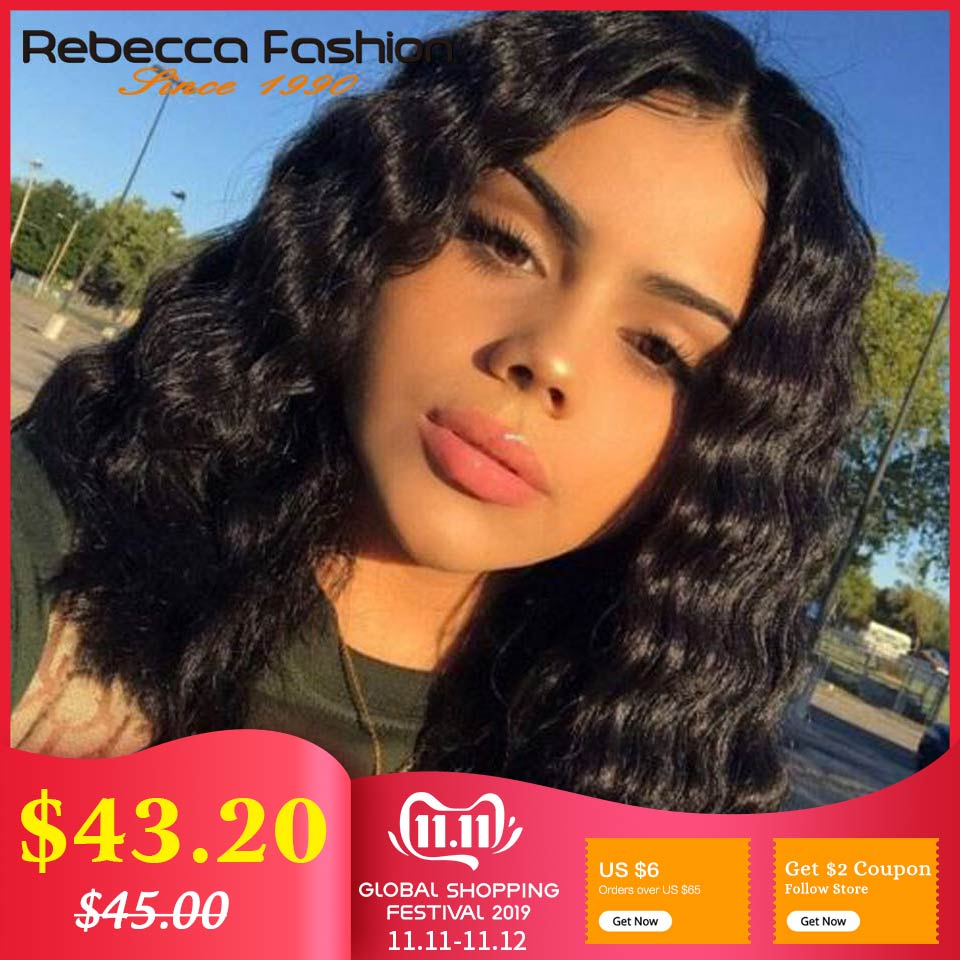 Rebecca Human Hair Wig Lace Part Wig Preplucked Natural Hairline Bleached Knots Loose Deep Human Hair Wigs Middle Part Wig Remy
