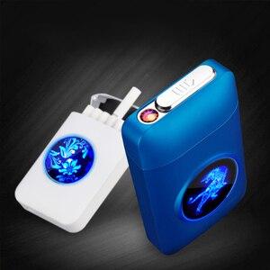 Metal Cigarette Case Box with USB Electronic Lighter Tobacco Storage Case Cigarette Holder Electric Plasma Arc Lighter Gadgets(China)