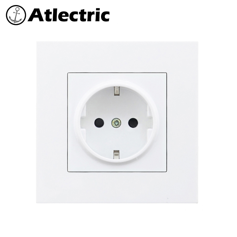 Atlectric PC Plastic Panel EU FR French Standard Power Socket Socket With Dual USB Ports For Mobile 86mm 86mm Outlet Plug in Electrical Sockets from Home Improvement