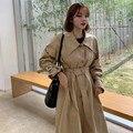 Women Winter Khaki Turn Down Collar Super Long Trench Coat Slim Waist Long Sleeve Windbreaker A-line Vintage Waistbelt Cloak