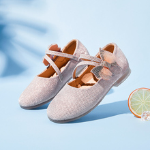 Princess Kids Leather Shoes for Girls Flower Casual Glitter Children Girls Shoes Butterfly Knot Pink Silver