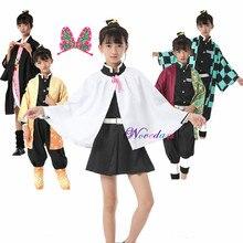 Meisjes Tsuyuri Kanawo Cosplay Anime Demon Slayer Kimetsu Geen Yaiba Tanjirou Kamado Nezuko Cosplay Kisatsutai Uniform Kostuum Kids