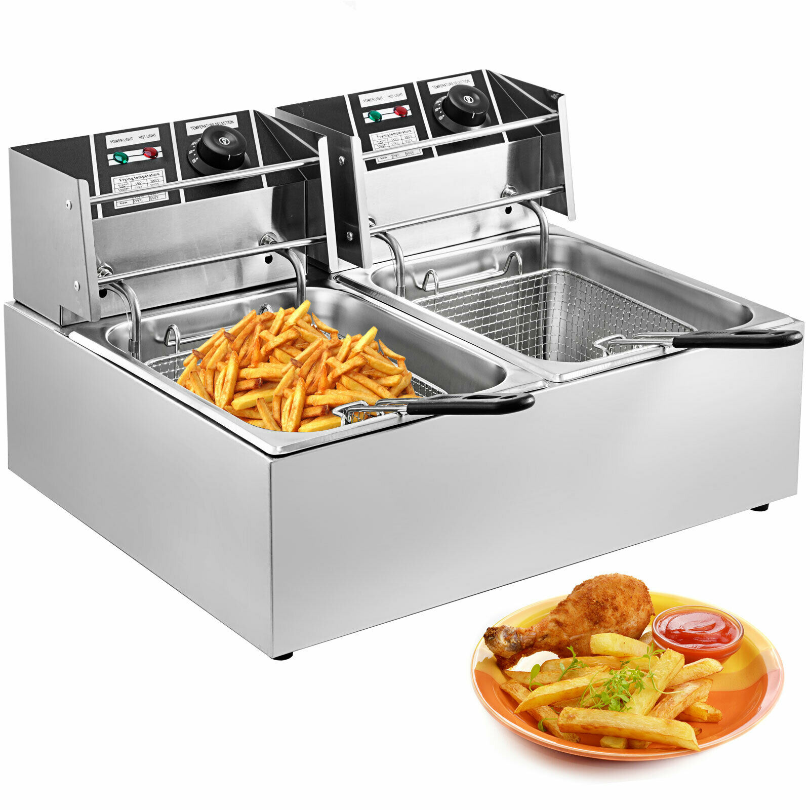 Commercial Deep Fryer 2x6L Stainless Steel Commercial Twin Double Tank Electric Deep Fat Fryer Basket With FREE SHIPPING
