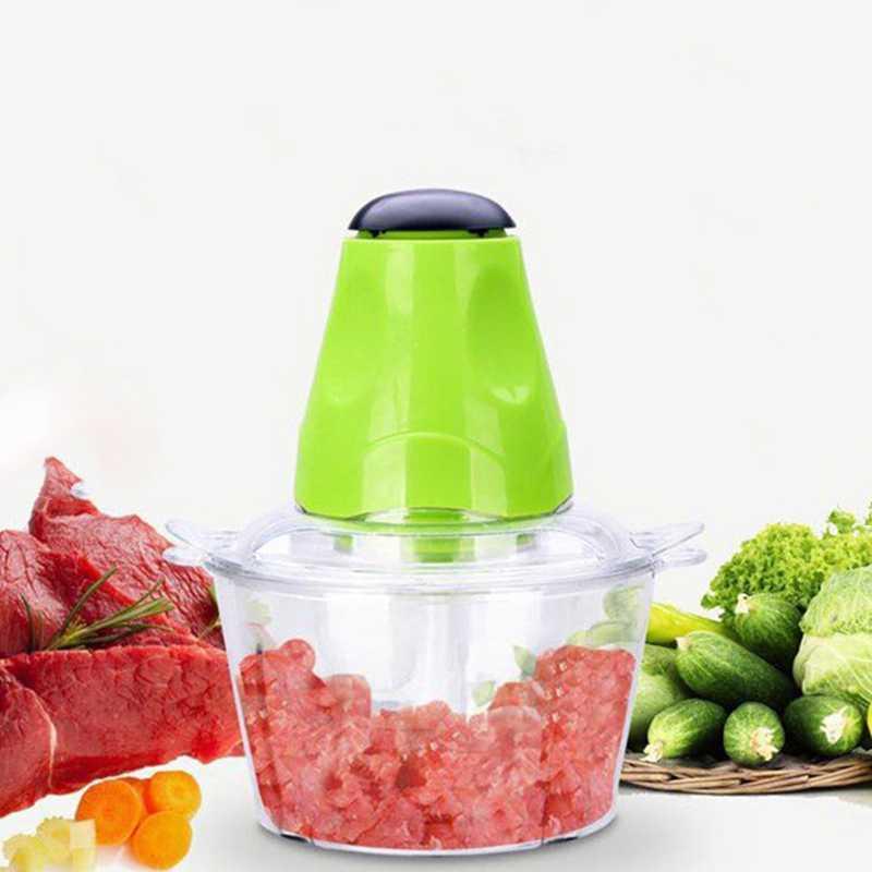 Picadora de alimentos Moedor de Carne Elétrico Máquina Auxiliar de Cozinha, mini 2L Tigela Processador de Alimentos Moedor De Carne Legumes Frutas Alimentos Sausa
