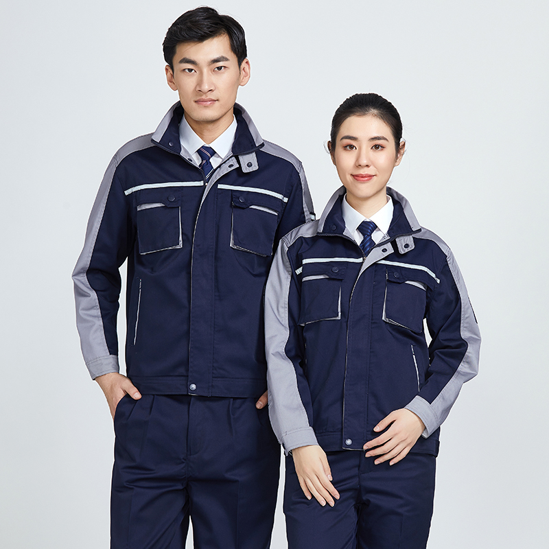 2019WorK Clothes Men Woman Workwear Zipper Jacket+pants Fashion Contrast Color Wear-Resistant Welding Suit Coveralls Auto Repair