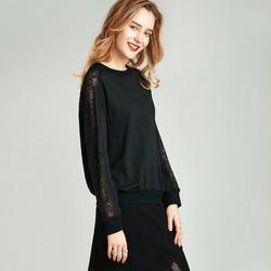 Havva Lente Herfst Mode Zwart Kant Gesplitst Trui Vrouwen 100% Katoen Ronde Kraag Sweater Dunne Tops V4224