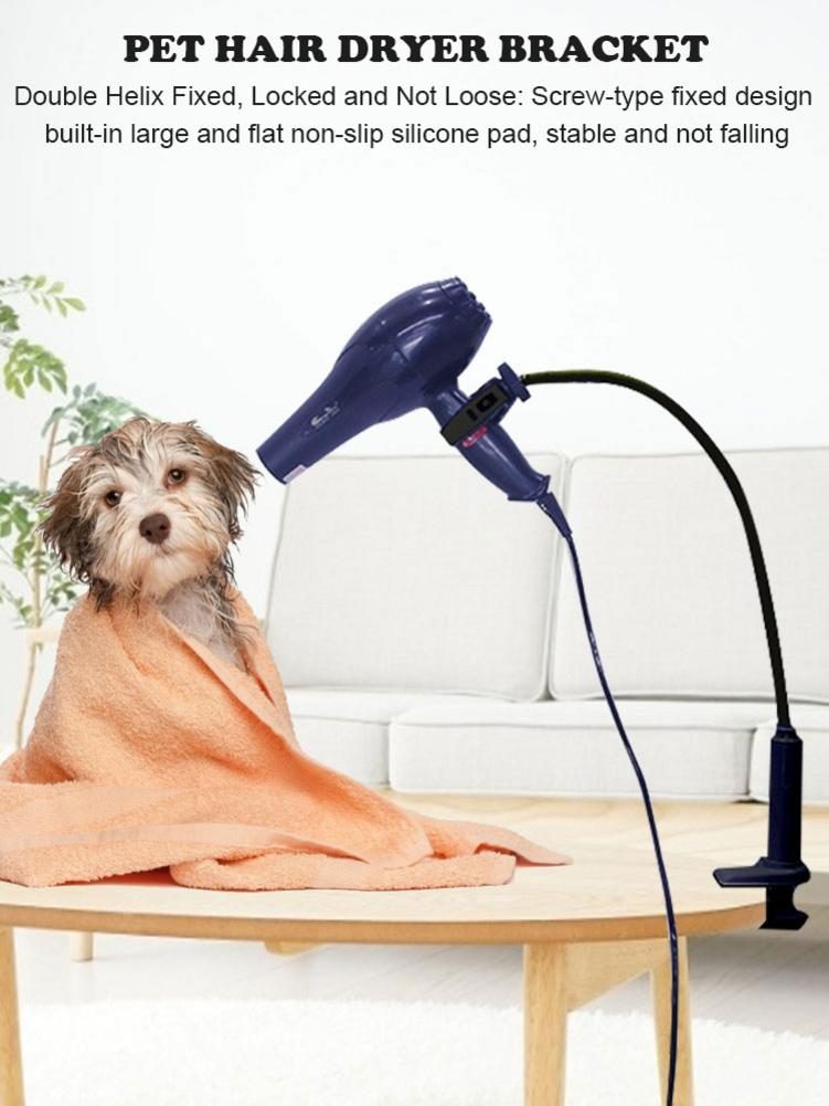 Pet Hair Dryer Stand Fixed Bracket 360 Degree Rotating Freely Retractable Rack Convenient Hands-Free Care Accessories For Dogs 15