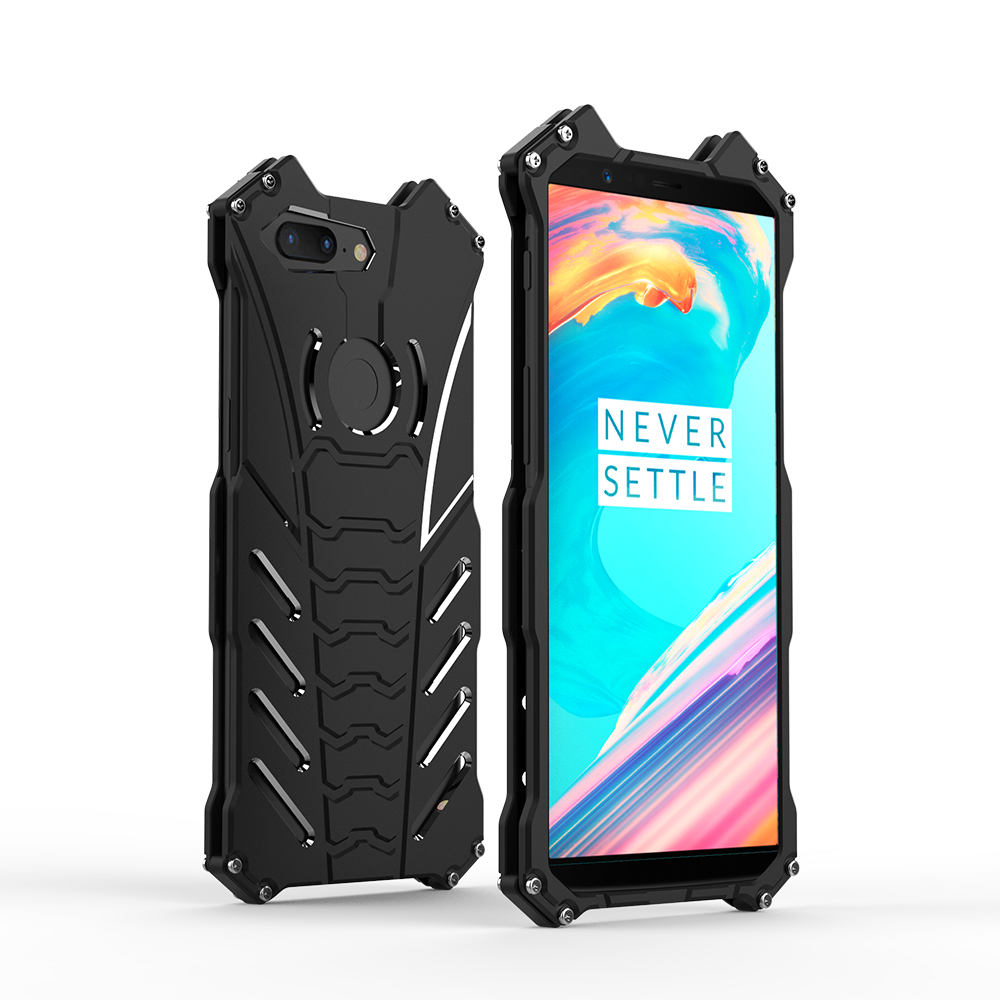 Luxury Batman Armor Rugged Shockproof Kickstand Case For Oneplus 5T Aluminum Metal Cover 5 Mobile Phone