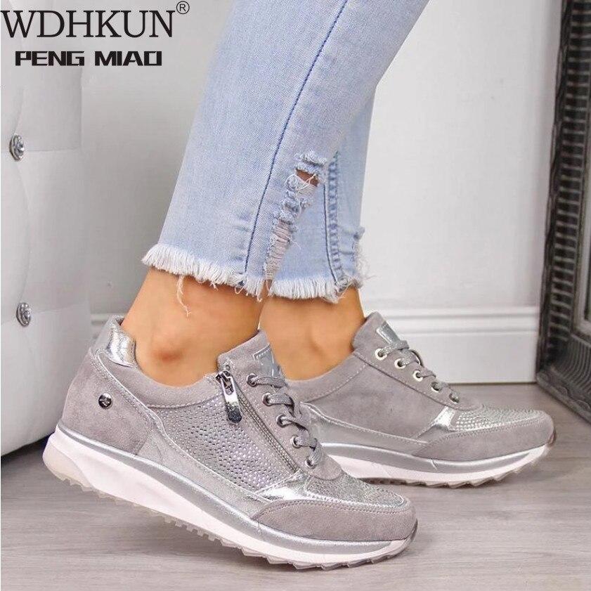 Women Shoes Gold Sneakers Zipper Platform Trainers Women Shoes Casual Lace Up Tenis Feminino Zapatos De Mujer Womens Sneakers|Women's Vulcanize Shoes| - AliExpress