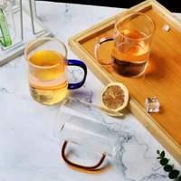 Maniglie multicolori disponibili bicchiere da acqua in vetro borosilicato ad alto strato a strato singolo bicchiere da tè al limone bicchiere da vino