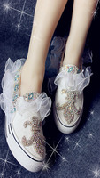 White low canvas shoes white lace glass Czech diamond princess sweet new