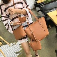 4 комплекта сумок для женщин, прочная модная женская кожаная сумка через плечо из четырех частей, клатч, кошелек, Ретро сумка, основная женск...