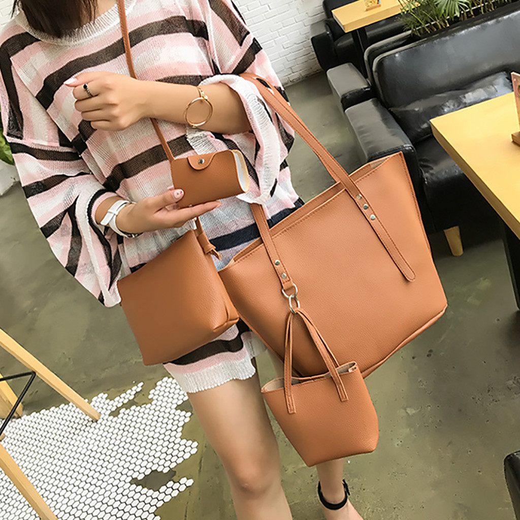 4 Sets Handbags For Women Durable Fashion Women Leather Four-Piece Shoulder Crossbody Bag Clutch Wallet Retro Bag Sac Main Femme