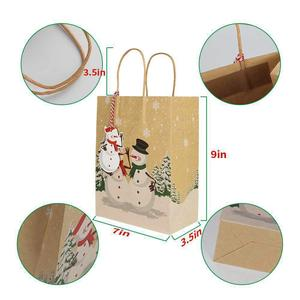 Image 3 - OurWarm Kraft Paper Bags Candy Box Christmas Goodie Bags Paper Gift Bags Paper Christmas Packaging Sweets Popcorn Box 23x9x18cm