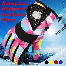 Winter Warm Snowboarding Ski Gloves Children Kids Snow Mittens Waterproof Cycling Skiing Breathable Outdoor Sports
