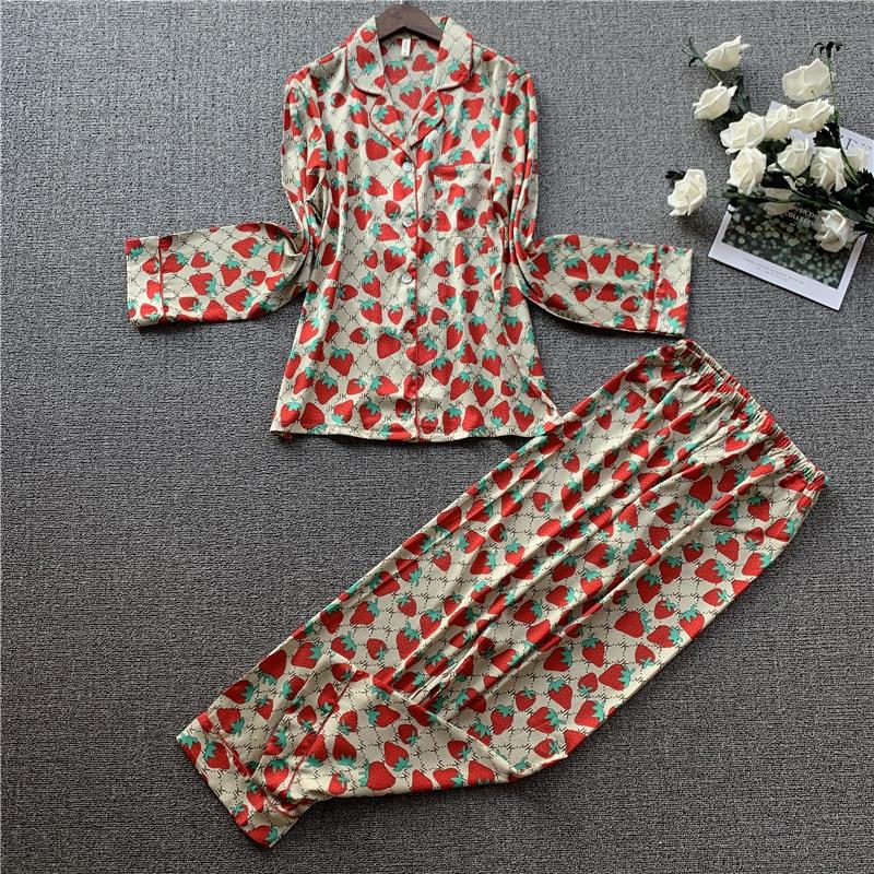 Lisacmvpnel Strawberry Printing Sweet Women Pajama Set Satin Long Sleeve Trousers Set Pyjamas