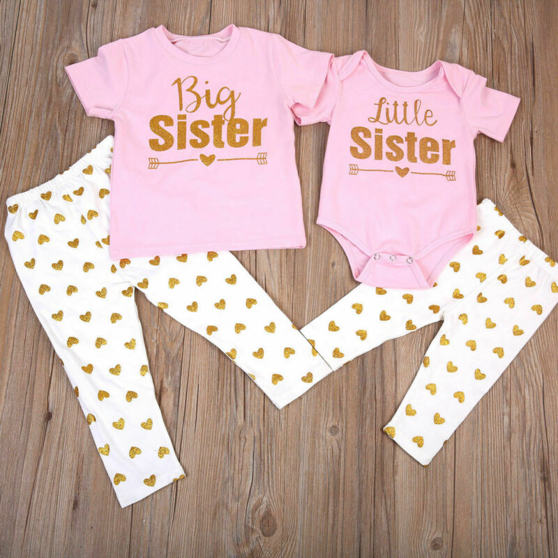 2020 Summer Autume US Match Clothes Big Sister T-shirt Little Sister Romper+Long Pants Outfits Cute Set