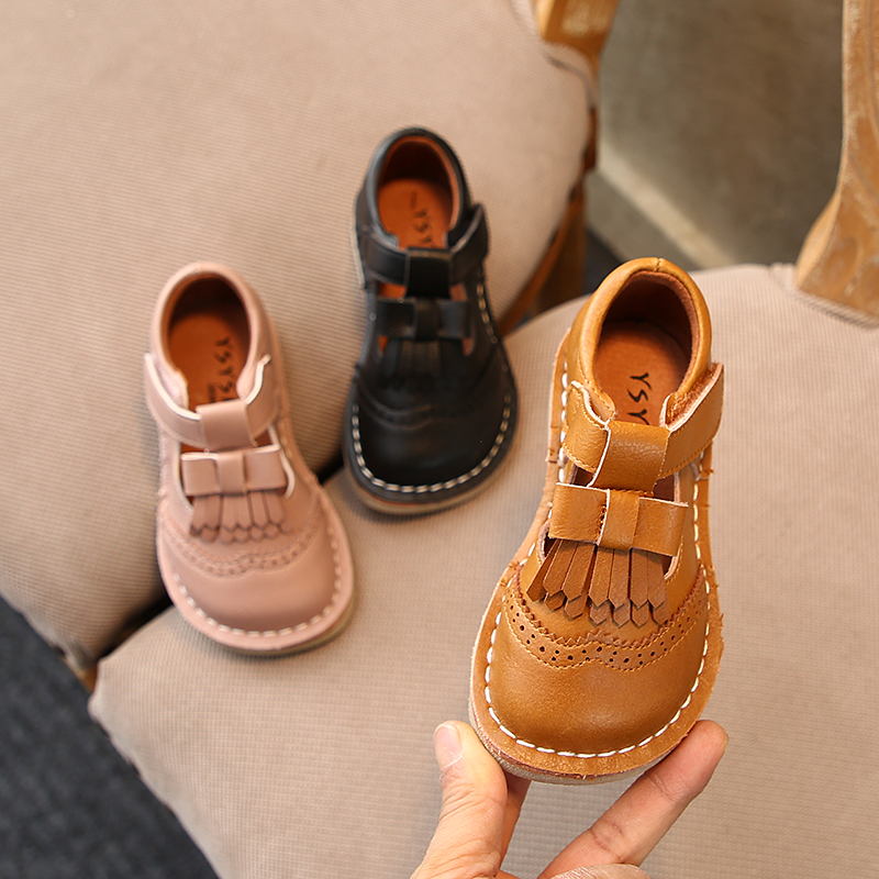 Girls Leather Shoes Spring Fashion Tassel Flat Sneakers Kids Shoes For Girl Princess Bowtie Baby Single Shoes Size 21-30 SX460