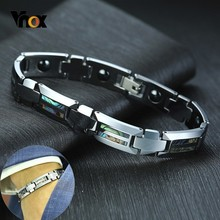 Vnox Magnificence Shell Insert Bracelets for Men Tungsten Carbide Business Offic