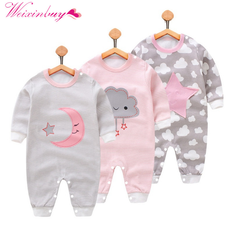 Baby Rompers Autumn Girls Boys Long Sleeve Cute Cartoon Cloud Striped Print Rompers
