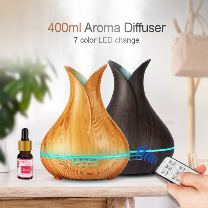 550ml Remote Control Humidifier Wood Grain Aroma Diffuser Fresher Air Aromatherapy Diffuser With 7 Colors Light For Office Home