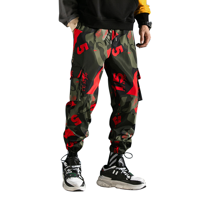 FAVOCENT Trousers Pant Ribbons Joggers Harem Streetwear Side-Pockets Black Male Camouflage