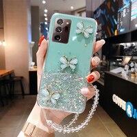 Funda de teléfono de silicona con cordón brillante de lujo, para Samsung Galaxy S21, S20, FE, S10, S9, Note 20, 10, 9, 8 Plus, ultrafina