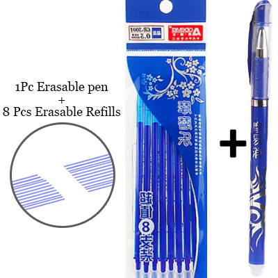 1+8Pcs/Set Blue Black Ink Erasable Pen 0.5mm Refills Gel Pens For Kids Girls Gifts Writing School Office Supplies Stationery