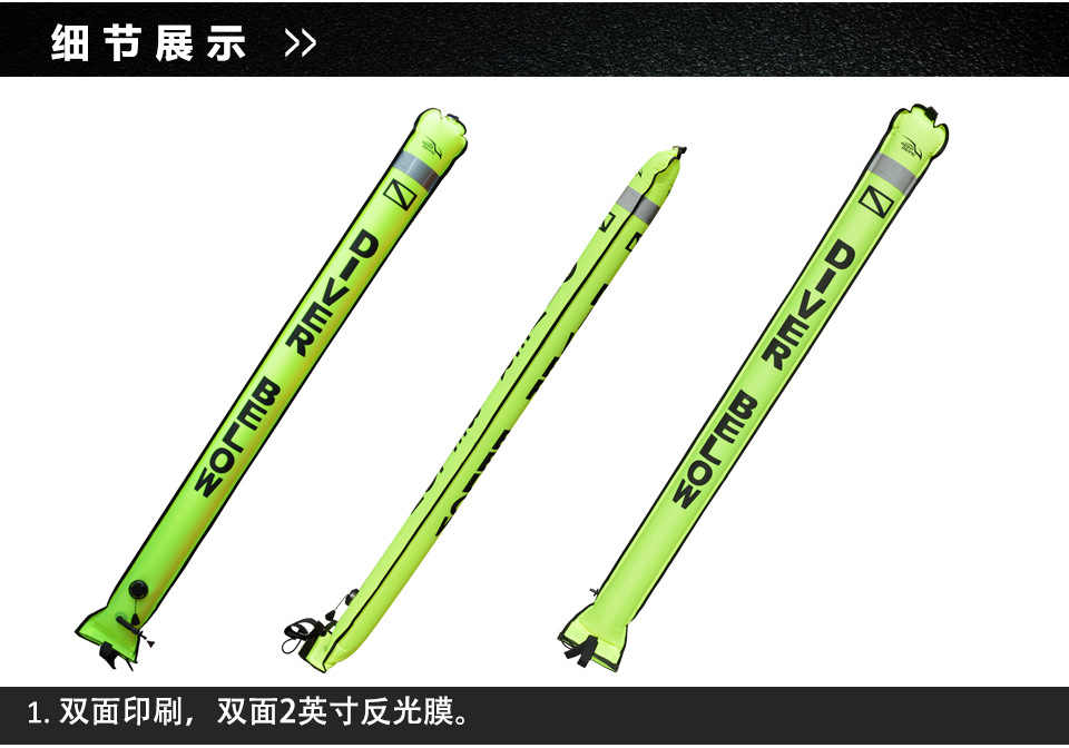 Duiken 1.8m 1.5m 1.2m Neon Oppervlak Marker SMB Signaal Buis met Plastic Clip voor voor Onderwater spearfishing Snorkelen