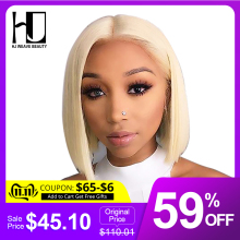 Wig Brazilian Lace-Front-Wig Short Bob Human-Hair 13x6 Blonde Transparent Black Women