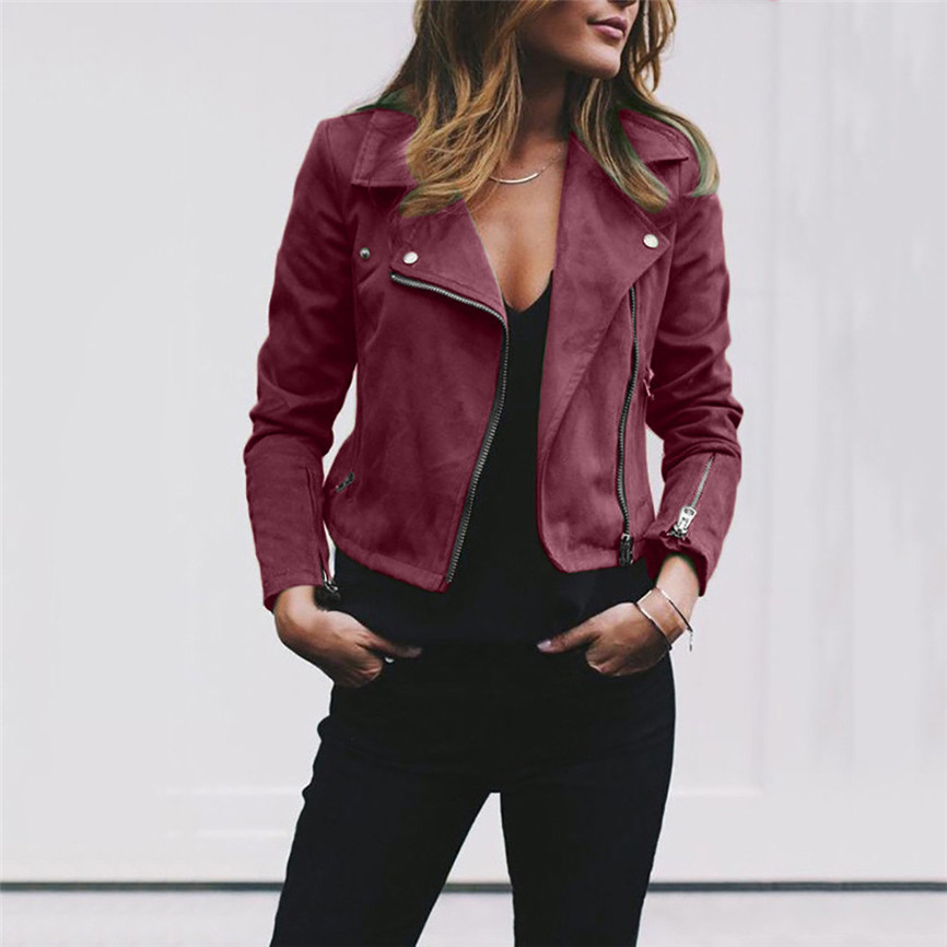 Motorcycle Temale Leat Womens Ladies Retro Rivet Zipper Up Bomber Jacket Casual Coat Outwear Slim Cool Lady Basic Jackets