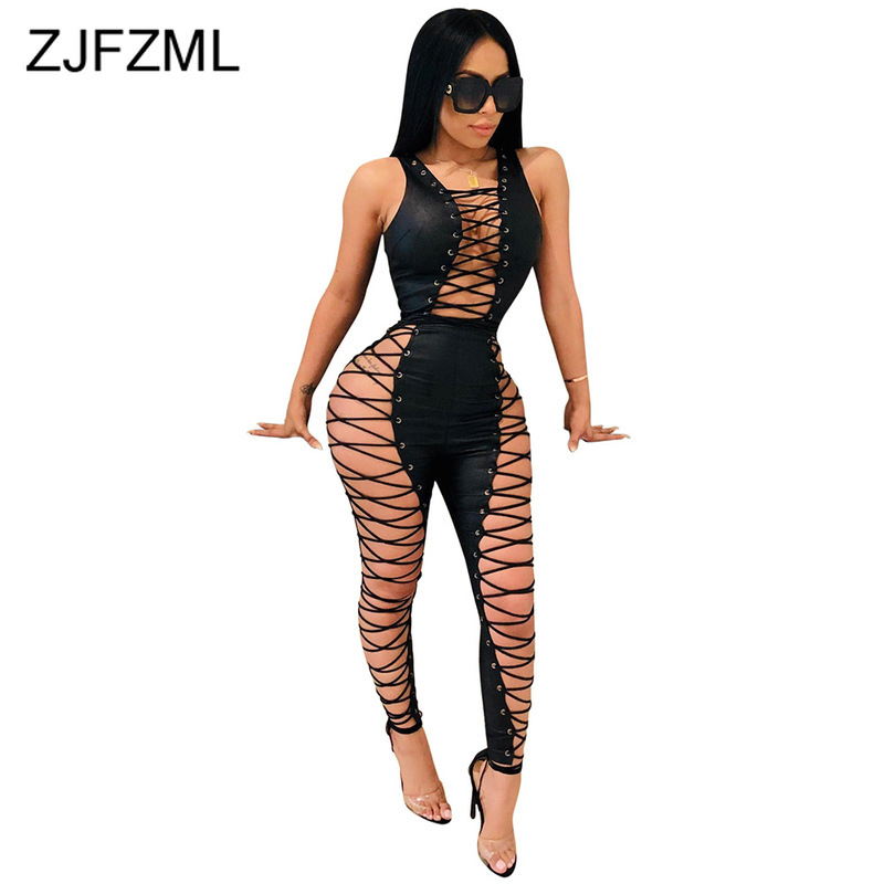 Hollow Out <font><b>Lace</b></font> Up <font><b>Sexy</b></font> Bandage Jumpsuit Women Sleeveless Bodycon <font><b>Black</b></font> <font><b>Bodysuit</b></font> Party Club Plus Size Bodycon Ladies Jumpsuits image