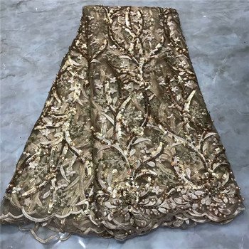 Graceful gold wedding dress material French net lace fabric with beads for party dress VRN272(5yards/lot)