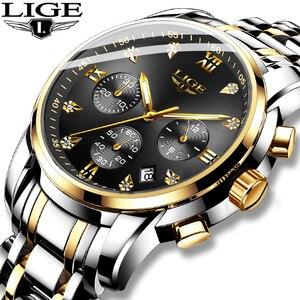 Relogio Masculino LIGE мужские часы Роскошные бриллиантовые многофункциональные кварцевые часы с циферблатом мужские деловые полностью стальные во...