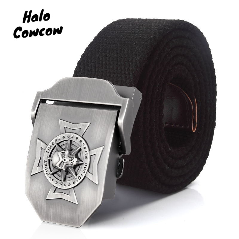 Men's Canvas Belt Skull Cross Metal Buckle Military Belts Army Tactical Belts For Men Man Top Quality Male StrapGreen 150 160cm