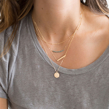 JUJIE 4 pcs Stainless Steel Necklaces For Women gold color Simple Pendants Necklace combination Necklace Jewelry high quality fashion gents women stainless steel health jewelry anion fir germanium gold necklace pendants
