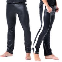 sexy pants for men clubwear leather skinny pants slim fit straight trousers pole dance hot nightclub gay fetish vinyl pants