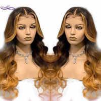 Dream Beauty ไฮไลท์สีบลอนด์สีลูกไม้ด้านหน้ามนุษย์ Wigs Pre-Plucked เส้นผม Remy บราซิล Wavy Wigs Bleached Knots
