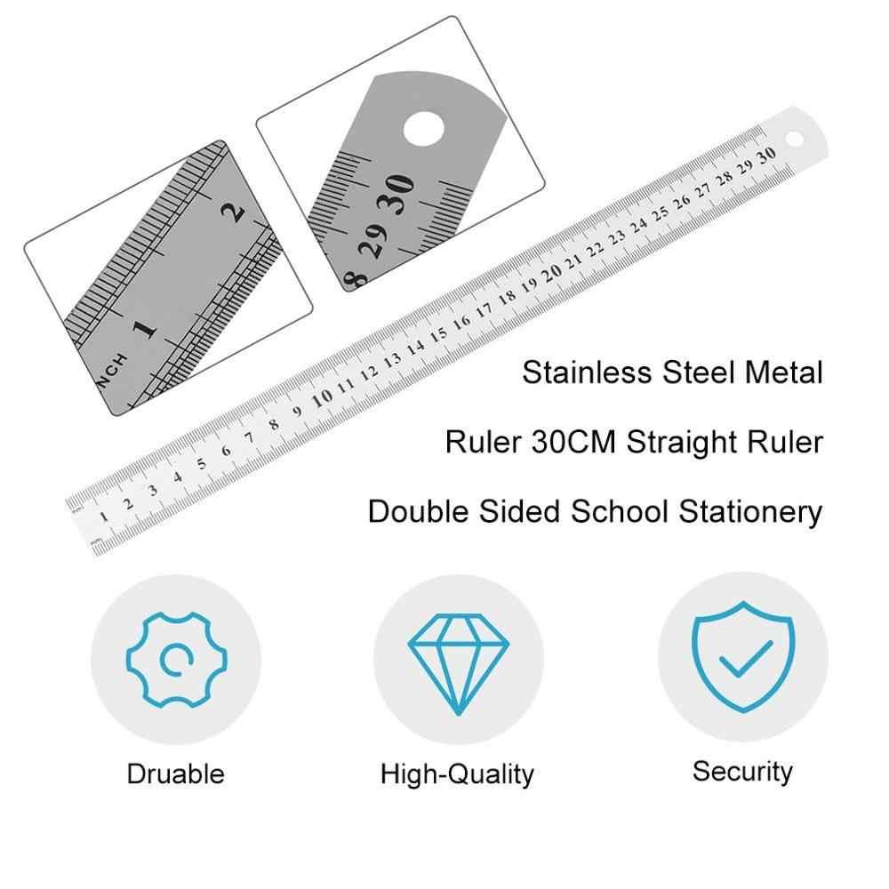 Stainless Steel Penggaris Besi 30 Cm Penggaris Lurus Pengukuran Dua Sisi untuk Menjahit Jahit & Alat Tulis Sekolah