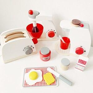 Image 2 - Dzieci drewniane udawaj zagraj zestawy symulacja tostery maszyna do chleba ekspres do kawy Blender zestaw do pieczenia gra mikser kuchnia rola zabawka