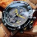 MEGIR креативные кварцевые наручные часы  мужские часы  водонепроницаемые кожаные мужские часы  лучший бренд  Роскошный хронограф  спортивные...