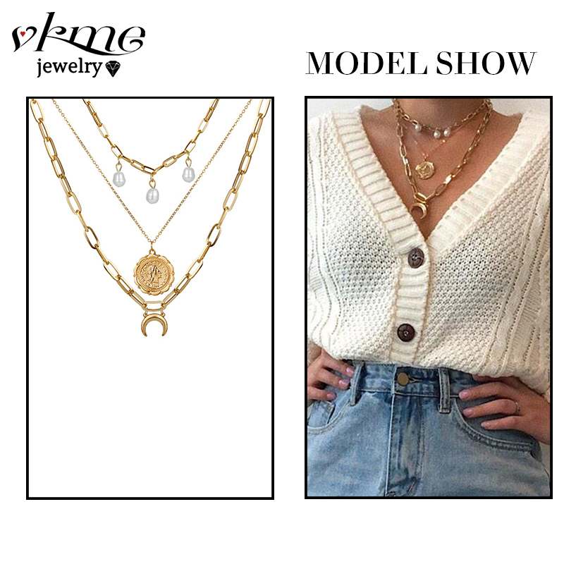 VKME Bohemian Gold Necklaces For Women Multilayer Fashion Pearl Pendants Necklace Portrait Chokers 2020 Trendy New Jewelry Gift