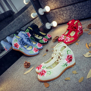 Image 2 - Veowalk Handmade Vintage Pumps Hidden Wedge Heel Women Cotton Embroidered Canvas Shoes Mid Top Ankle Strap Casual Pumps