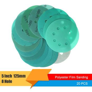 20 sztuk 5 Cal 125mm 8 otworów papier ścierny 60 do 2000 kasza hak i pętli zielona folia tarcza szlifierska tanie i dobre opinie BIKENSTAR Farby i dekorowanie 5 inch (125mm) Green Hook and Loop Aluminum Oxide Polyester Film