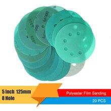 20Pcs 5 Inch 125mm 8 구멍 습식 및 건식 사포 60 ~ 2000 Grits 후크 및 루프 녹색 필름 샌딩 디스크 PET 필름 연마 도구
