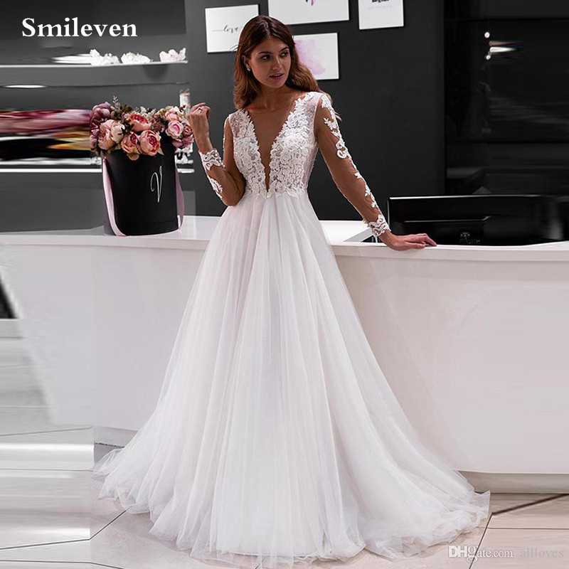 Smileven Boho Wedding Dress Long Sleeve Lace Bride Gowns Buttons Back Bride Dresses Vestido De Noiva